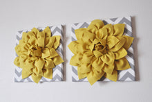 "Load image into Gallery viewer, Two Wall Flowers -Mellow Yellow Dahlia on Gray and White Chevron 12 x12"" Canvas Wall Art- 3D Felt Flower - Daisy Manor"