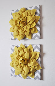 "Two Wall Flowers -Mellow Yellow Dahlia on Gray and White Chevron 12 x12"" Canvas Wall Art- 3D Felt Flower - Daisy Manor"
