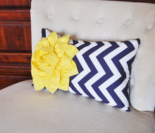 Load image into Gallery viewer, Decorative Pillow Yellow Dahlia on Navy and White Zig Zag Chevron Lumbar Pillow 9 x 16 - Daisy Manor