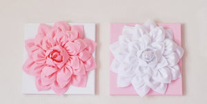 "Two Wall Hangings Light Pink Dahlia on White and White Dahlia on Light Pink  12 x12"" Canvases Wall Art- Baby Nursery Wall D - Daisy Manor"