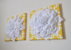"Two Flower Hangings -White Dahlias on Yellow Gotcha Print - 12 x12"" Canvases Wall Art- Geometric Wall Decor- - Daisy Manor"