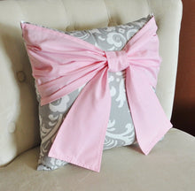 Load image into Gallery viewer, Throw Pillow Light Pink Bow on a Gray and White Damask Pillow 14x14 Pink and Gray Decor - Daisy Manor