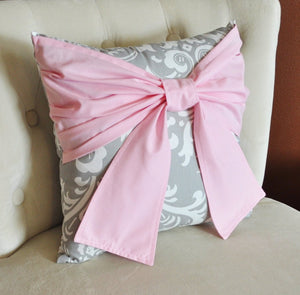 Throw Pillow Light Pink Bow on a Gray and White Damask Pillow 14x14 Pink and Gray Decor - Daisy Manor