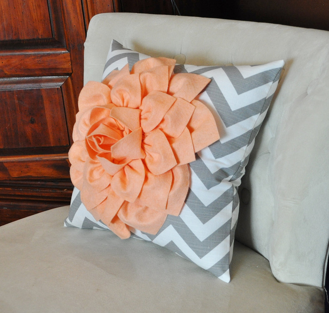 Peach Dahlia on Gray and White Zigzag Pillow -Chevron Pillow- New Bedbuggs Color - Daisy Manor