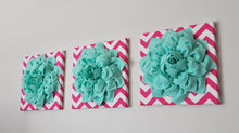 "Load image into Gallery viewer, Wall Art - Set Of Three Mint Dahlia On Hot Pink And White Chevron 12 x12"" Canvas - Mint Wall Art - Daisy Manor"