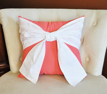 Load image into Gallery viewer, Throw Pillow, White Bow on Coral Pillow 14x14 Coral Home Decor, Decorative Throw Pillows - Daisy Manor
