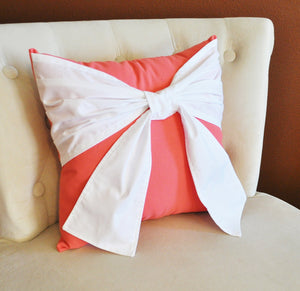 Throw Pillow, White Bow on Coral Pillow 14x14 Coral Home Decor, Decorative Throw Pillows - Daisy Manor