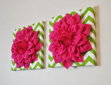 Load image into Gallery viewer, Three Hot Pink Dahlias on Green and White Chevron Canvases - Daisy Manor