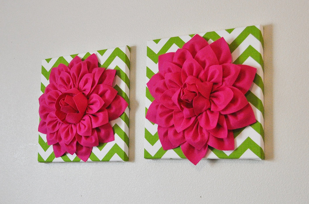 Two Flower Wall Hangings- Hot Pink Dahlia on Chartreuse and White Chevron 12 x12