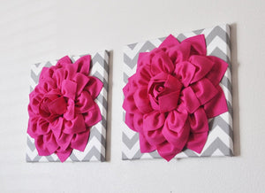 TWO Hot Pink Dahlias on Gray and White Chevron Canvases - Daisy Manor