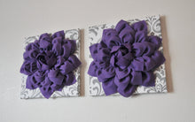 Load image into Gallery viewer, Two Lavender Dahlias on White and Gray Damask Canvases - Daisy Manor