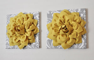 "Two Flower Wall Hangings -Mellow Yellow Dahlia on Gray and White Damask 12 x12"" Canvas Wall Art- Baby Nursery Wall Decor- - Daisy Manor"