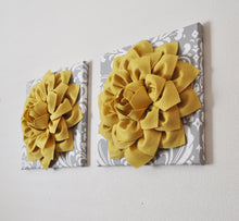 "Load image into Gallery viewer, Two Flower Wall Hangings -Mellow Yellow Dahlia on Gray and White Damask 12 x12"" Canvas Wall Art- Baby Nursery Wall Decor- - Daisy Manor"