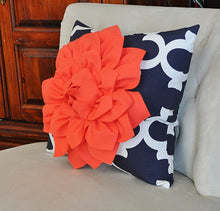 Load image into Gallery viewer, Decorative Throw Pillow -- Coral Flower on Navy and White Moroccan Lumbar Pillow - Daisy Manor