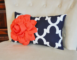 Decorative Throw Pillow -- Coral Flower on Navy and White Moroccan Lumbar Pillow - Daisy Manor