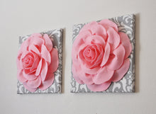 Load image into Gallery viewer, TWO Light Pink Roses on Gray and White Damask Canvases Wall Art - Daisy Manor