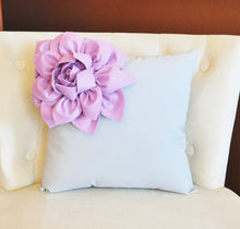 Load image into Gallery viewer, Lilac Corner Dahlia on Light Aqua Pillow 14 X 14 -Flower Pillow- Baby Nursery Pillow - Daisy Manor
