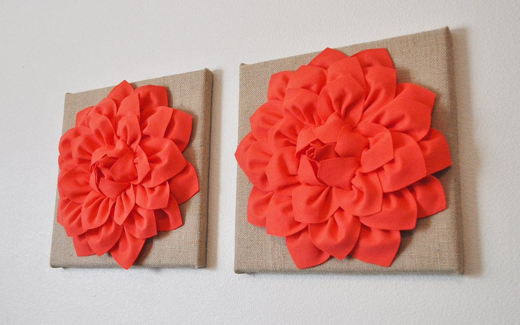 Two Wall Canvases - Coral Dahlia Flowers on Burlap 12 x12