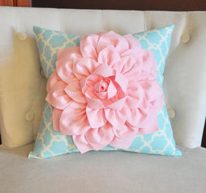 Light Pink Dahlia Flower on Blue Tarika Pillow Accent Pillow Throw Pillow Toss Pillow - Daisy Manor