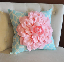 Load image into Gallery viewer, Light Pink Dahlia Flower on Blue Tarika Pillow Accent Pillow Throw Pillow Toss Pillow - Daisy Manor