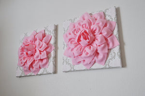 "Two Wall Flowers -Light Pink Dahlia Flowers on White, Taupe and Light Pink Damask Print 12 x12"" Canvas Wall Art- Baby Nurse - Daisy Manor"