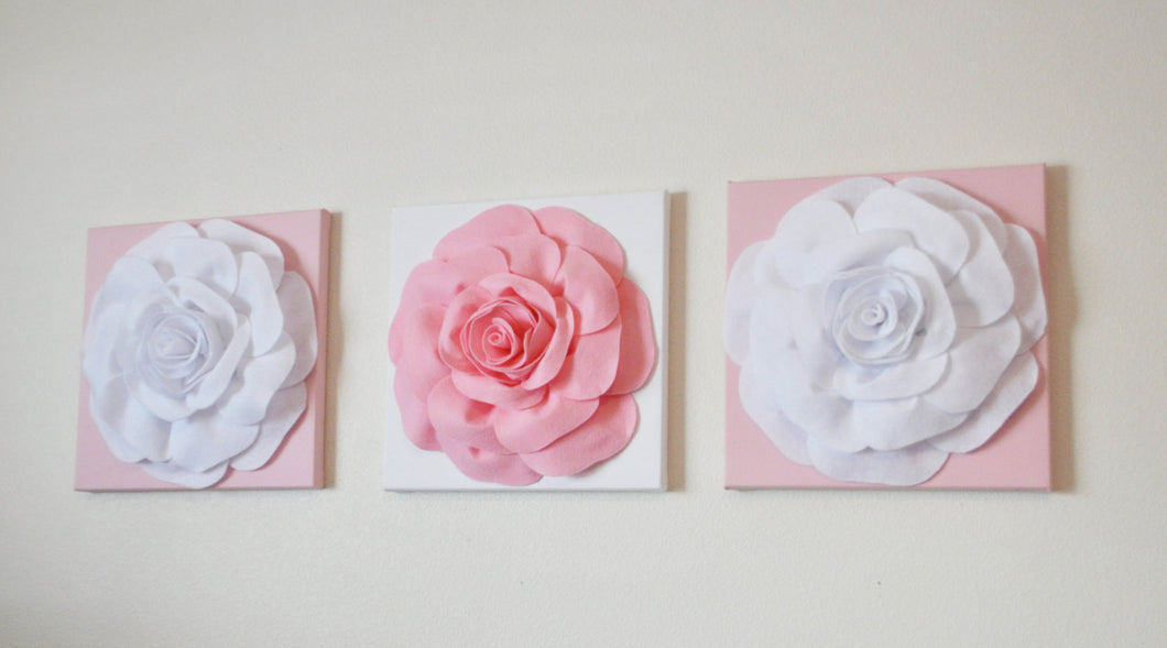 Wall Decor -Set Of Three Light Pink and White Flower Wall Hangings 12 x12