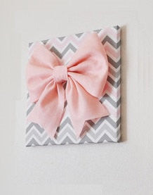 "Large Light Pink Bow on Pink and Gray and White Chevron 12 x12"" Canvas Wall Art- Baby Nursery Wall Decor- Zig Zag - Daisy Manor"