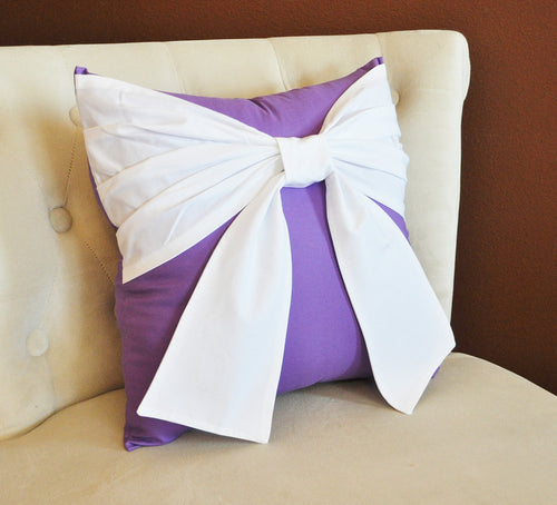 Lavender Bow Pillow - Daisy Manor