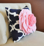 Light Pink Rose on Navy and White Moroccan Print Pillow -Moroccan Decorative Pillow-