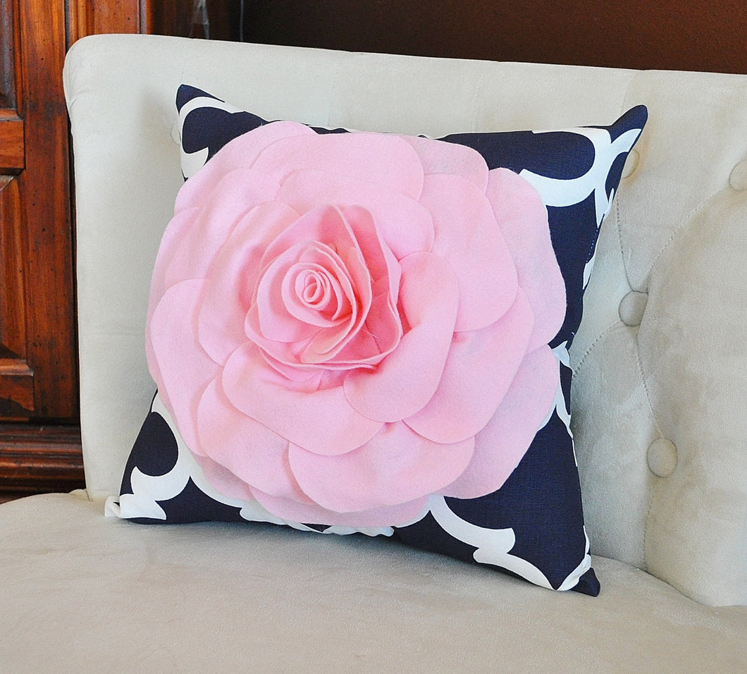 Light Pink Rose on Navy and White Moroccan Print Pillow -Moroccan Decorative Pillow- - Daisy Manor
