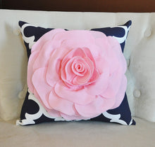 Load image into Gallery viewer, Light Pink Rose on Navy and White Moroccan Print Pillow -Moroccan Decorative Pillow- - Daisy Manor