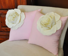 Load image into Gallery viewer, Two Decorative Pillows Ivory Corner Roses on Light Pink Pillows - Daisy Manor