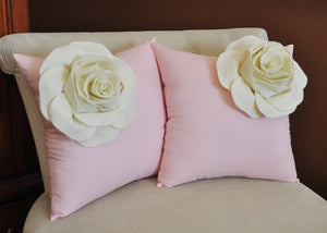 Two Decorative Pillows Ivory Corner Roses on Light Pink Pillows - Daisy Manor