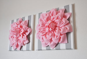 "Two Wall Flowers -Light Pink Dahlias on Gray and White Stripe  12 x12"" Canvas Baby Nursery Wall Art- - Daisy Manor"