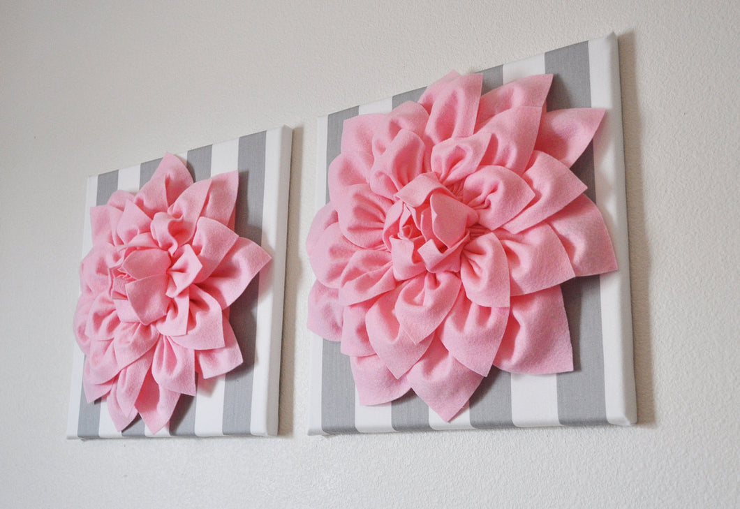 Two Wall Flowers -Light Pink Dahlias on Gray and White Stripe  12 x12