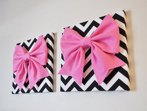 "Two Large Pink Bow on Black and White Chevron 12 x12"" Canvas Wall Art- Baby Nursery Wall Decor- Zig Zag - Daisy Manor"