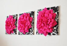 Load image into Gallery viewer, Three Hot Pink Dahlia Flowers on Black and White Damask Canvases - Daisy Manor