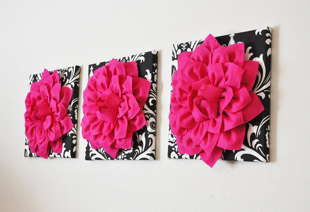 Three Hot Pink Dahlia Flowers on Black and White Damask Canvases - Daisy Manor