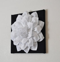 "Load image into Gallery viewer, Two Flower Wall Hangings -White Dahlia on Black 12 x12"" Canvas Wall Art- Black and White Wall Decor - Daisy Manor"