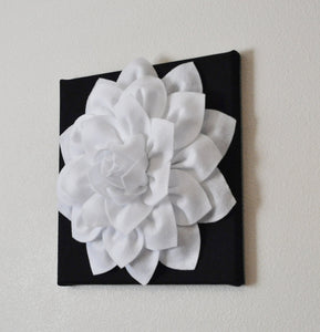 "Two Flower Wall Hangings -White Dahlia on Black 12 x12"" Canvas Wall Art- Black and White Wall Decor - Daisy Manor"