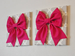 "Two Bow Wall Hangings -Large Hot Pink Bows on Neutral Gray Tarika Trellis 12 x12"" Canvas Wall Art- Baby Nursery Wall Decor- - Daisy Manor"