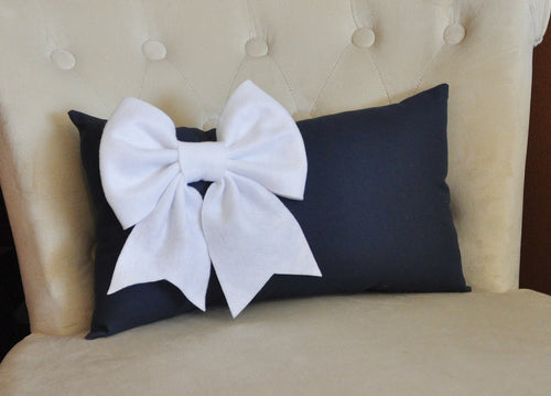White Bow on Navy Lumbar - Daisy Manor