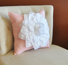 Load image into Gallery viewer, Throw Pillow White Dahlia on Light Pink Pillow 14x14 Flower Pillow - Daisy Manor