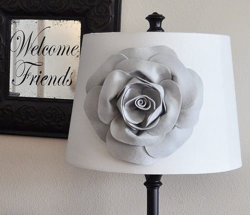 Gray Rose Lampshade Flower Accessory -Lamp Shade Magnetic Flower Embellishment- New Collection - Daisy Manor