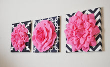 Load image into Gallery viewer, THREE Pink Flower Set on Navy and White Prints Canvases - Daisy Manor