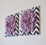 TWO Lilac Dahlia Flowers on Navy and White Chevron Canvases