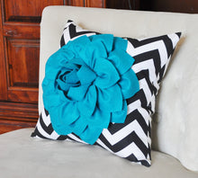 Load image into Gallery viewer, Pillows, Flower Pillows, Decorative Throw Pillows, Throw Pillow, Turquoise Pillows, Decorative Pillows, Black Chevron,  Nur - Daisy Manor