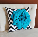 MOTHERS DAY SALE Pillows, Flower Pillows, Decorative Throw Pillows, Throw Pillow, Turquoise Pillows, Decorative Pillows, Black Chevron,  Nur