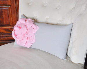 Decorative Lumbar Pillow Light Pink Dahlia on Gray Lumbar Pillow 9 x 16 - Nursery Pillow - Home Decor - - Daisy Manor