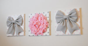 Set of Three Large Gray Bows and Light Pink Dahlia on Polka Dot Canvases - Daisy Manor